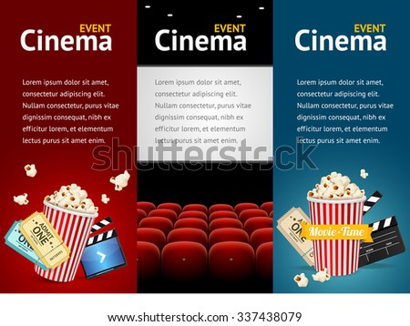 Realistic Cinema Movie Poster Template. Vertical Set. illustration