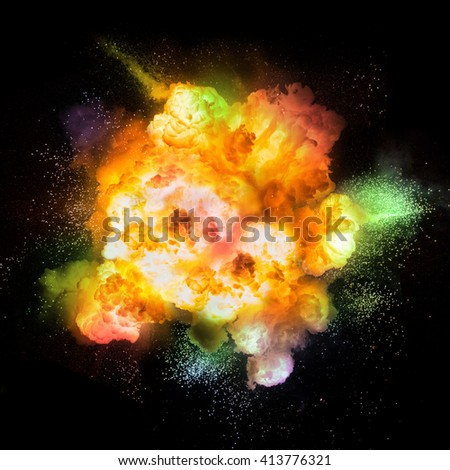 Realistic color fiery explosion over a black backgroun - stock photo