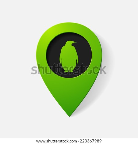 Realistic color pointer: penguin. Isolated illustration icon - stock photo