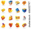 Realistic colorful icon set for books, stationery and papers on white background. Raster version. Vector version is also available. - stock vector