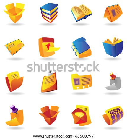 Realistic colorful icon set for books, stationery and papers on white background. Raster version. Vector version is also available. - stock photo