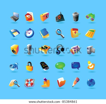 Realistic colorful icon set for computer program and website interface on light blue background. Raster version. Vector version is also available. - stock photo