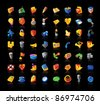 Realistic colorful icon set on black background. Raster version. Vector version is also available. - stock photo