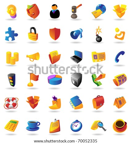 Realistic colorful icons set for business and finance on white background. Raster version. Vector version is also available. - stock photo