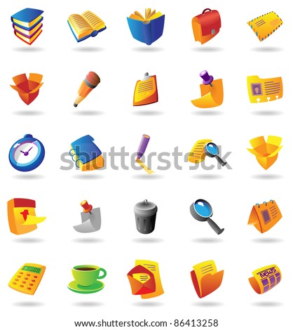 Realistic colorful icons set for office and stationery on white background. Raster version. Vector version is also available. - stock photo