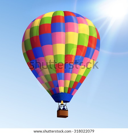 Realistic colorful striped flying air balloon with basket with blue sky background  illustration
