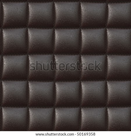 realistic computer generated brown leather cushion with heavy stitching. tiles seamlessly - stock photo