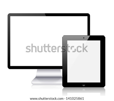 realistic computer tablet and computer monitor on white background. - stock photo