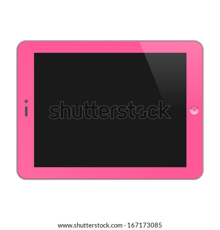 Realistic Concept Of Tablet PC With Blank Screen. Horizontal, Pink. Raster Version - stock photo