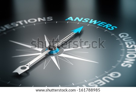 Realistic conceptual 3D render image with depth of field blur effect. Compass with the needle pointing the word answer, black background. Concept for business solutions. - stock photo