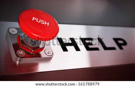 Realistic conceptual 3D render image with depth of field blur effect. Red push button with the word help. concept for emergency. - stock photo