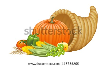 Realistic Cornucopia Illustration. Raster. - stock photo