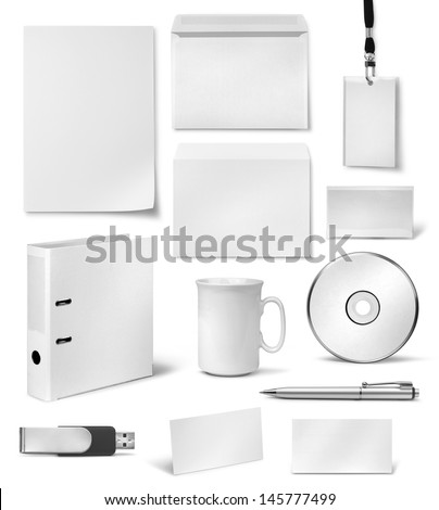 Realistic corporate visual brand identity blank design templates - stock photo