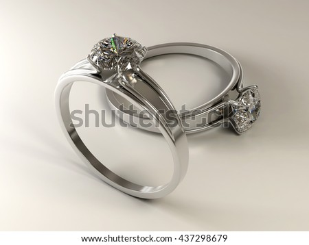 Realistic Couple Diamond ring isolated on white background, 3d illustration.