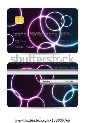 Realistic credit card, front and back view - stock photo