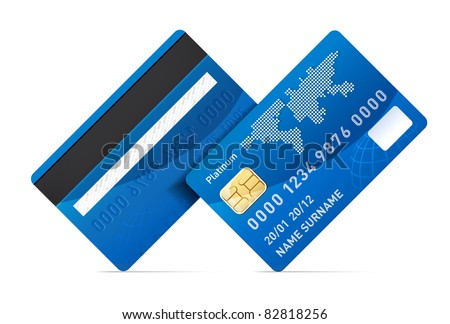 Realistic credit card isolated on white background - stock photo