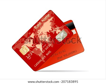 Realistic Credit Card two sides - stock photo