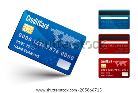 Realistic Credit Card two sides on white background