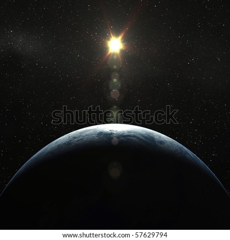 Realistic 3D Earth globe crescent with Sun - stock photo