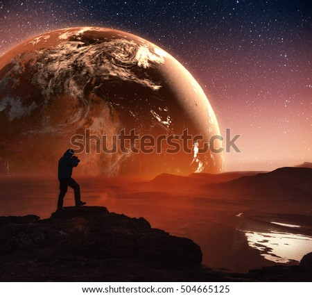 Realistic 3D Earth Lyustration. Man in Space. Courtesy of NASA. Fantastic starry sky and the milky way
