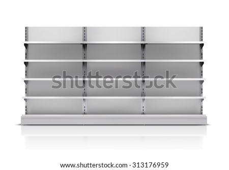 Realistic 3d empty supermarket shelf isolated on white background  illustration - stock photo