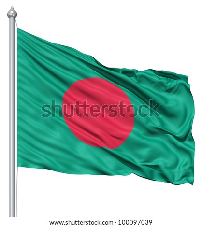 Realistic 3d flag of Bangladesh fluttering in the wind. - stock photo