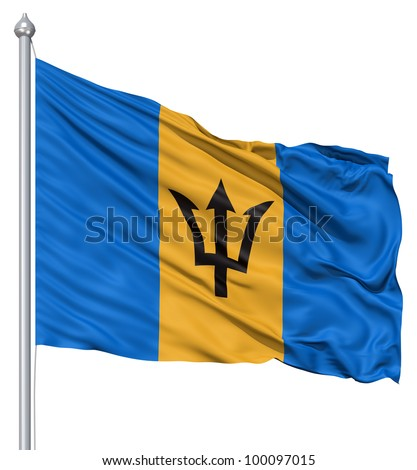 Realistic 3d flag of Barbados fluttering in the wind. - stock photo