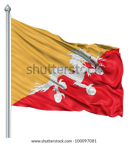 Realistic 3d flag of Bhutan fluttering in the wind. - stock photo
