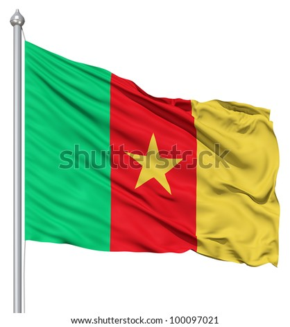 Realistic 3d flag of Cameroon fluttering in the wind. - stock photo