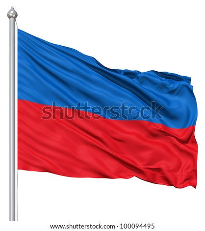Realistic 3d flag of Haiti fluttering in the wind. - stock photo
