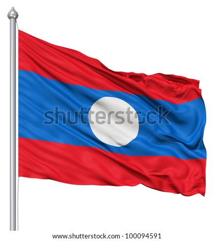 Realistic 3d flag of Laos fluttering in the wind. - stock photo