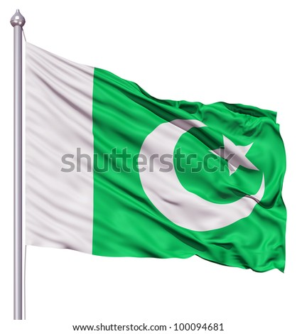 Realistic 3d flag of Pakistan fluttering in the wind. - stock photo