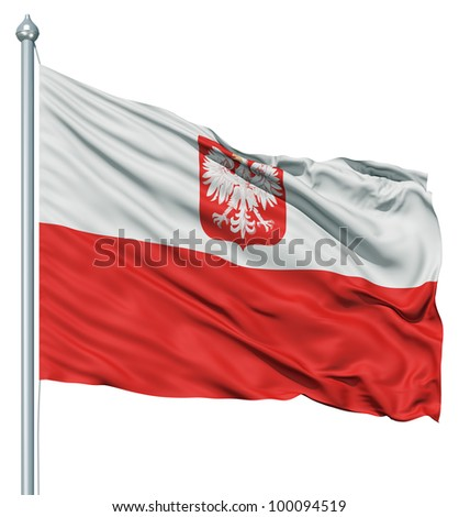 Realistic 3d flag of Poland fluttering in the wind. - stock photo