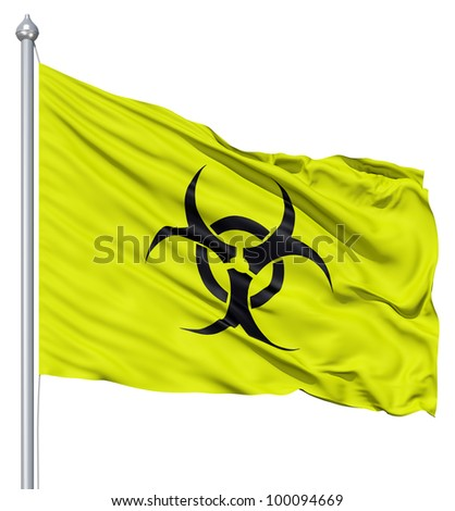 Realistic 3d flag of Radiation fluttering in the wind. - stock photo