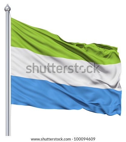 Realistic 3d flag of Sierra Leone fluttering in the wind. - stock photo