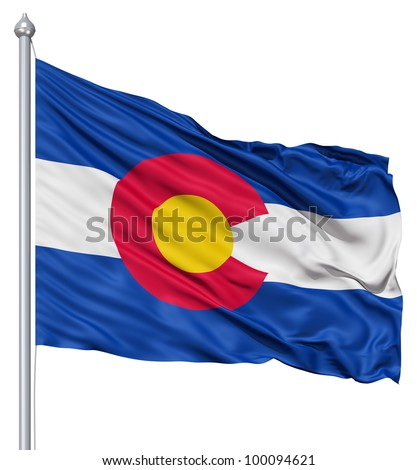 Realistic 3d flag of United States of America Colorado fluttering in the wind. - stock photo