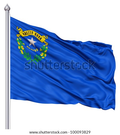 Realistic 3d flag of United States of America Nevada fluttering in the wind. - stock photo