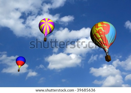 realistic 3d image of hot air balloons viewed from the ground level