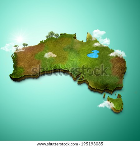 Realistic 3D Map of Australia - stock photo