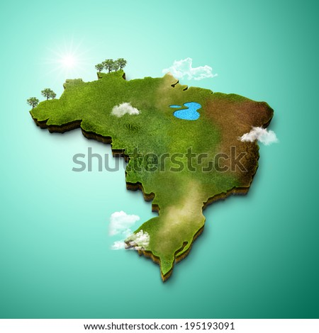Realistic 3D Map of Brazil - stock photo