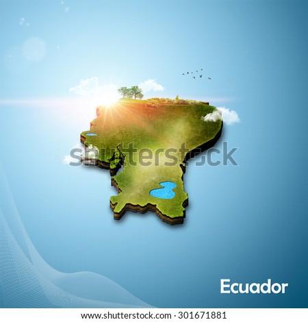Realistic 3D Map of Ecuador - stock photo