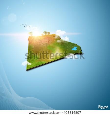Realistic D Map Egypt Stock Illustration Shutterstock - Map of egypt 3d
