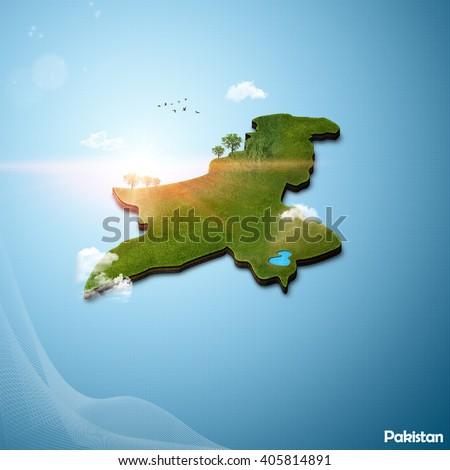 Realistic 3D Map of Pakistan - stock photo