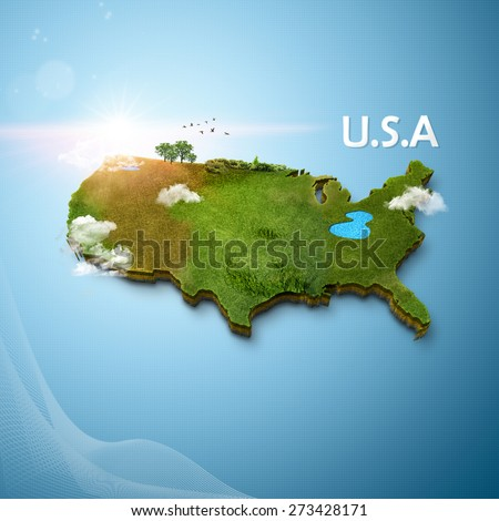 Realistic 3D Map of United States Of America - stock photo