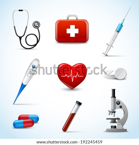 Realistic 3d medical emergency first aid care icons set with heart pill thermometer isolated  illustration