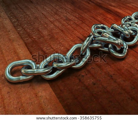 Realistic 3D model of a metal chain on the wooden floor. 3d rendering. Triptych, a lot of camera objective. - stock photo