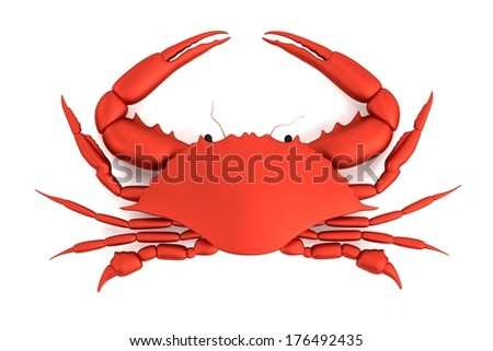 realistic 3d model of crab - stock photo