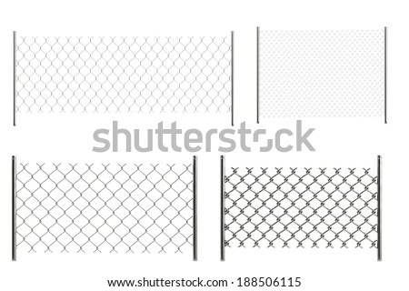 realistic 3d render of chain fences - stock photo