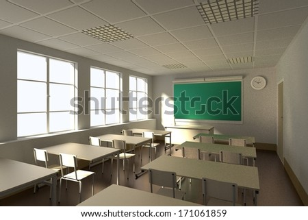 realistic 3d render of classroom - stock photo