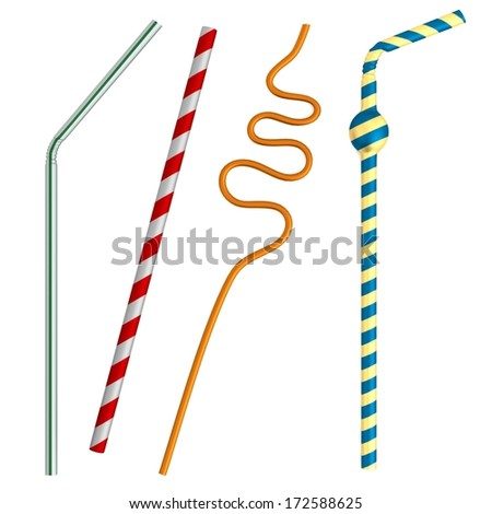 realistic 3d render of drinking straws - stock photo